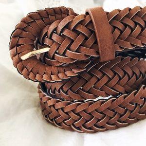 Tan Braided Leather Belt